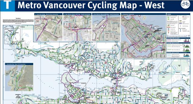 バンクーバー自転車道路地図